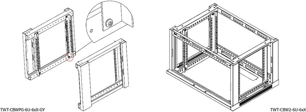 Настенный шкаф LANMASTER TWT-CBWPG-6U-6xX-GY